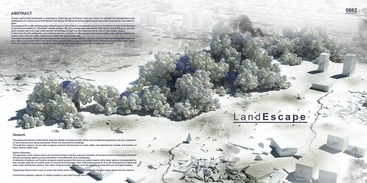 """""""Land-Escape"""" / Abolhassan Karimi, Amir Khosravi, Soudabeh Abbasi Azar, Shima Khoshpasand, Fatemeh Salehi Amiri, Maryam Nademi, Neshat Mirhadizadi. Image Courtesy of eVolo"""