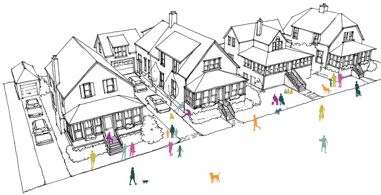How to Foster Civic Engagement in the Age of Twitter, For a project in Maine, the author lived in the neighborhood and held charettes, presentations, and workshops in his cottage. Illustration: Adapted by Stoltze Design from a drawing by Russell Preston. Image