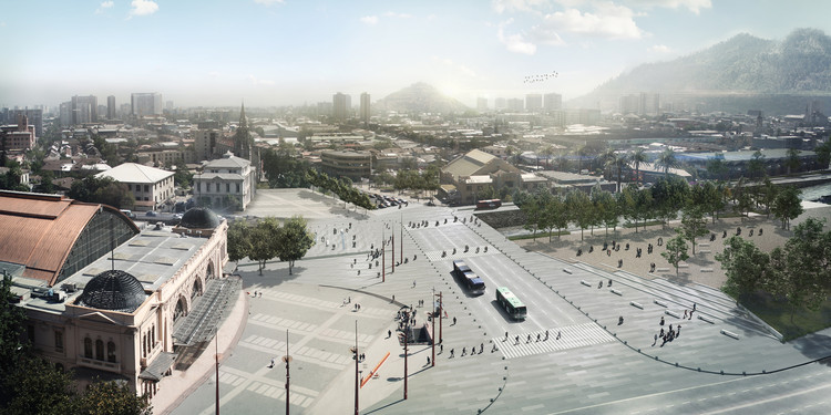 Conoce la propuesta de DUPLA Arquitectos, diseño ganador de futura Explanada de los Mercados, Explanada patrimonial y Parque Mapocho. Image Cortesía de DUPLA Arquitectos