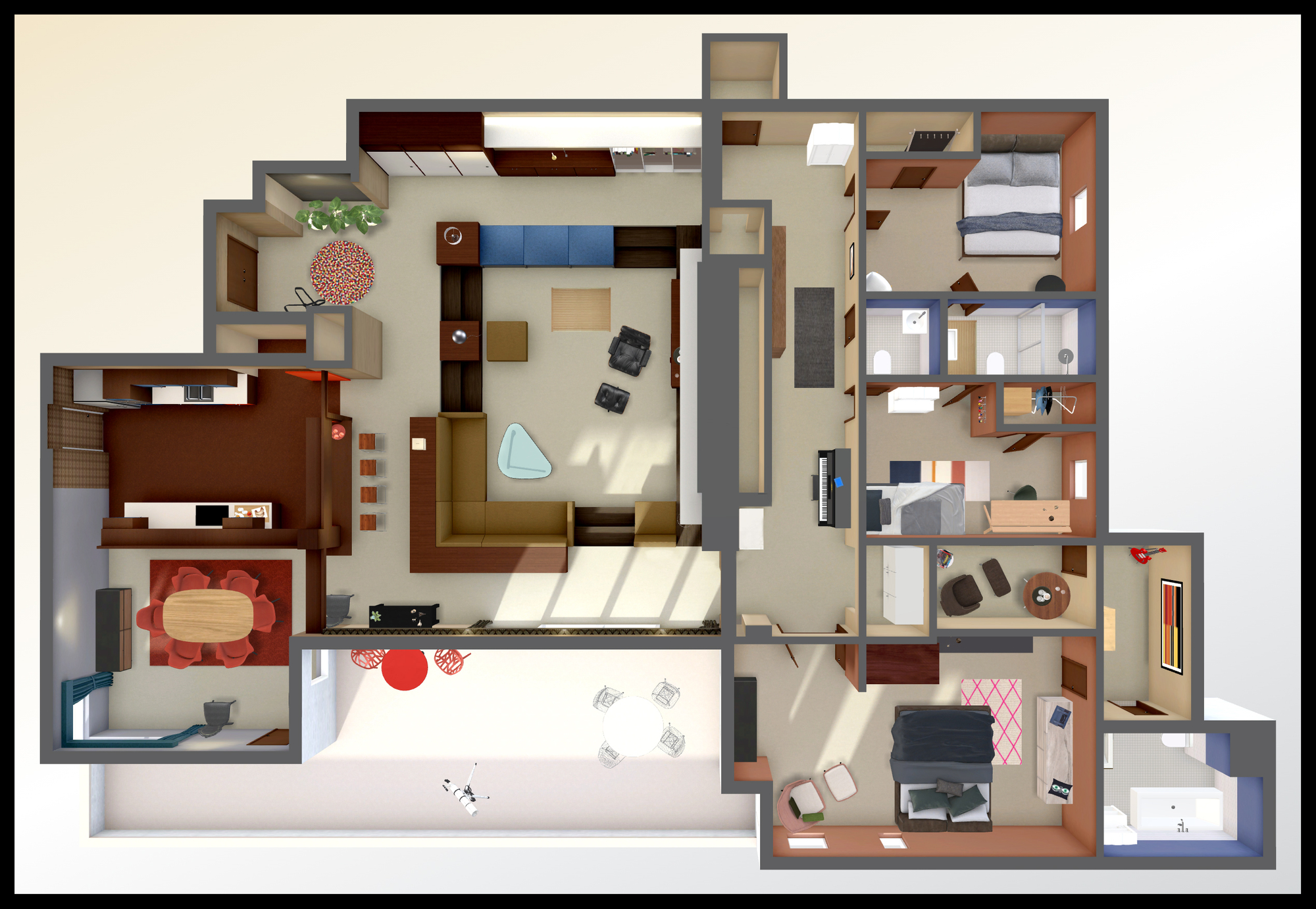 A virtual look into don draper s mad men apartment archdaily for House plans with virtual walk through