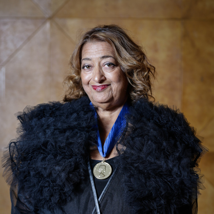 Zaha Hadid received the RIBA Royal Gold Medal in February 2016. Image © Sophie Mutevelian
