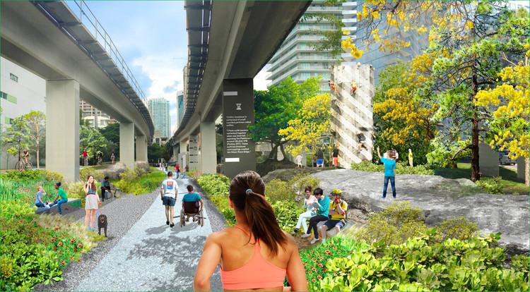 The Underline, el parque lineal de 16 kilómetros que se construirá bajo el metro de Miami, Propuesta. Image © The Underline