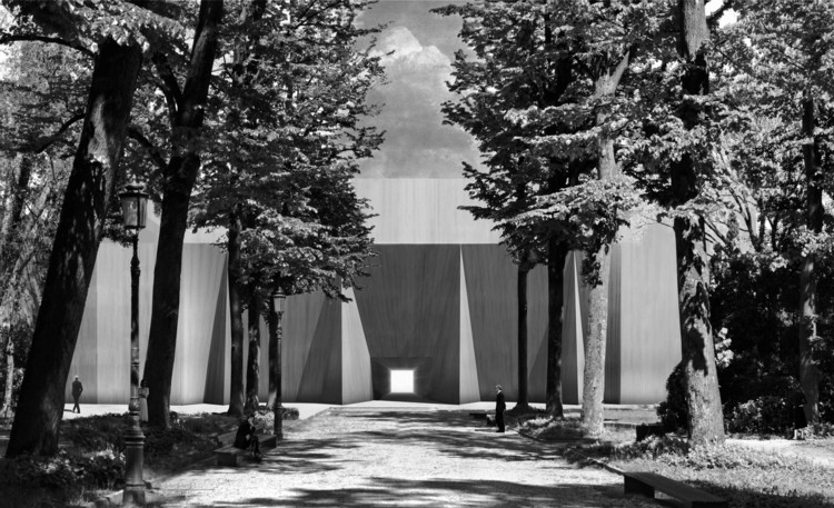 "RAAAF Propose to ""Reclaim"" Venice's Giardini by Shrouding National Pavilions with Fabric, Cloaked: Italian (Central) Pavilion. Image © RAAAF"