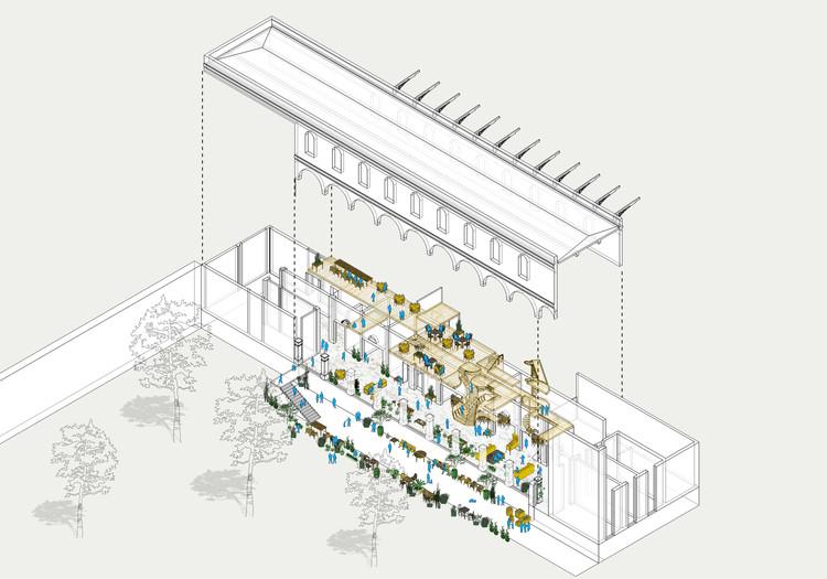 En Barrio San Diego, la Arquitectura y el Jardín de La Diana, Axonométrica La Diana. Image Cortesía de Diego Vergara