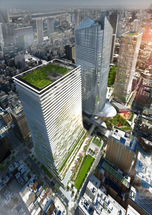 Ingenhoven Architects Reveal Plans for Green Towers in Tokyo, A new office tower (height 185 m) and a residential tower (height 220 m) will be built on both sides of the existing Toranomon Hills Mori Tower. Together they will form the new Toranomon business and lifestyle center. (Competition proposal image). Image © ingenhoven architects