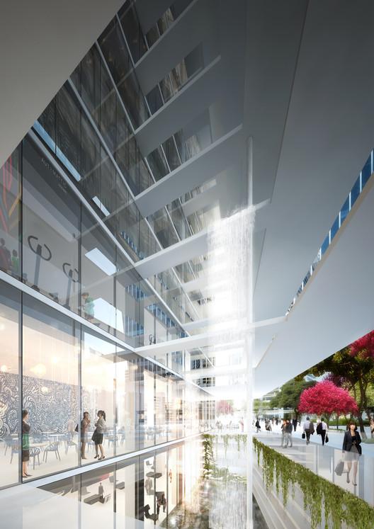 Apertura y contacto visual entre el interior y exterior caracterizan la torre de oficinas. (Imagen Oferta de Competencia). Imagen © Ingenhoven arquitectos