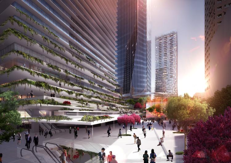 Torre de oficinas Toranomon: Las cubiertas inferiores de la torre de crean varias zonas para el cambio y el movimiento. (Imagen Oferta de Competencia). Imagen © Ingenhoven arquitectos