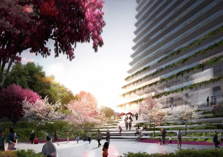 Las terrazas plantadas mejorarn la energía de la torre residencial Toranomon y crean continuidad con la planta. (Imagen Oferta de Competencia). Imagen © Ingenhoven arquitectos