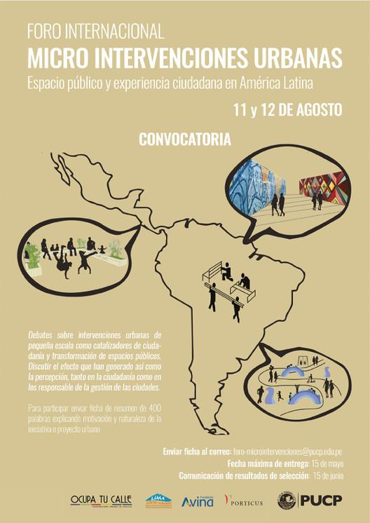 Convocatoria Primer Foro Internacional de Micro Intervenciones Urbanas, vía Observatorio ciudadano Lima cómo vamos