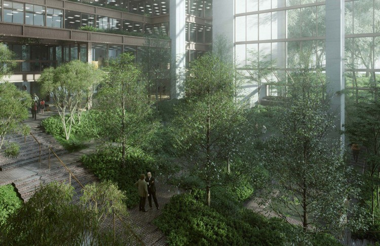 Ford Foundation Renovations by Gensler Approved by New York Landmarks Commission, Rendering of Atrium Modifications. Image via YIMBY