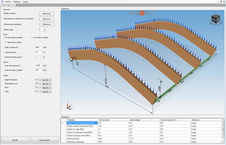 C+T (Change+Timber): software para el cálculo estructural en madera, Módulo Viga Aserrada Curva