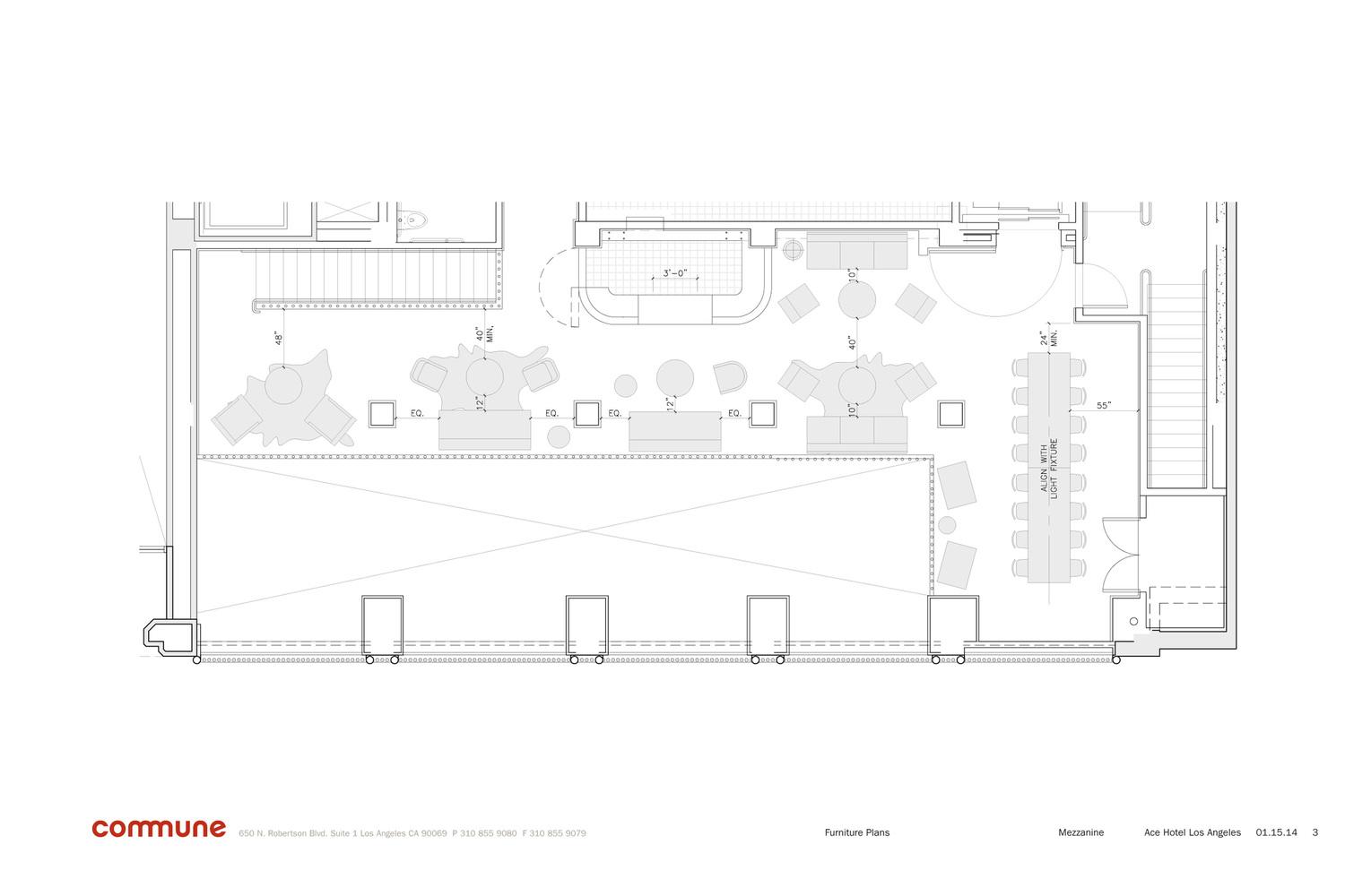 Hotel lobby furniture plan - Ace Hotel Downtown La Plan 2