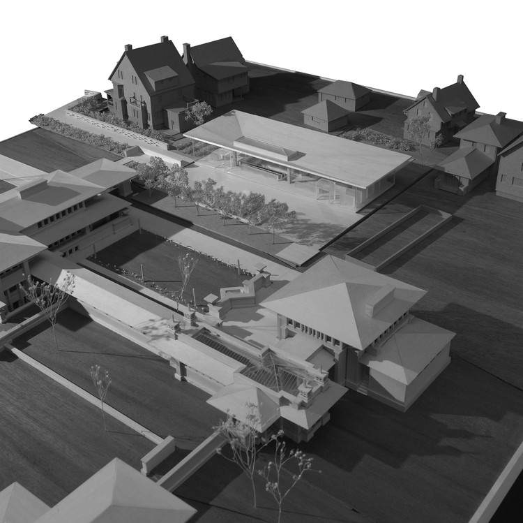 Site model for Darwin Martin House Visitor Center, Buffalo, NY. Image © Toshiko Mori Architect