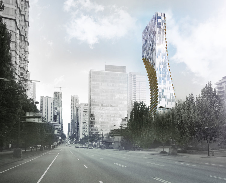 Kengo Kuma Unveils Mixed-Use Skyscraper in Vancouver, Courtesy of v2com
