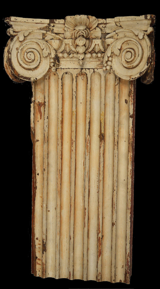 Architectural Clues to 18th-Century Williamsburg, Bruton Parish Church Pilaster Section and Capital (c. 1752), pine, possibly carved in England. AF-21.1.2. Courtesy of the Art Museums of Colonial Williamsburg