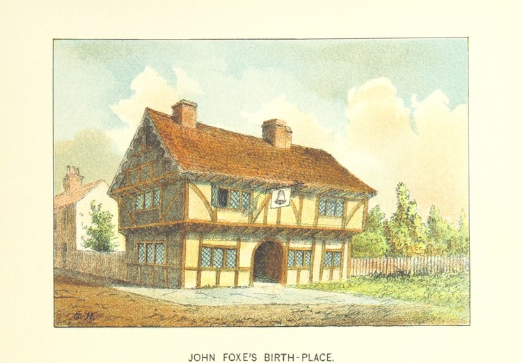 """Homes of our Forefathers in Boston, Old England, and Boston, New England. From original drawings by E. Whitefield"". Imagen cortesía de la Biblioteca Británica"