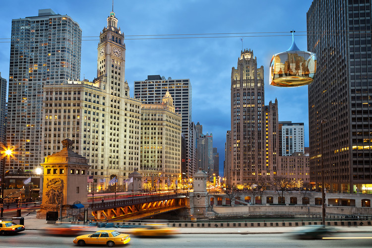 Marks Barfield Architects and Davis Brody Bond Propose Chicago Skyline Cablecar, Courtesy of Marks Barfield Architects and Davis Brody Bond