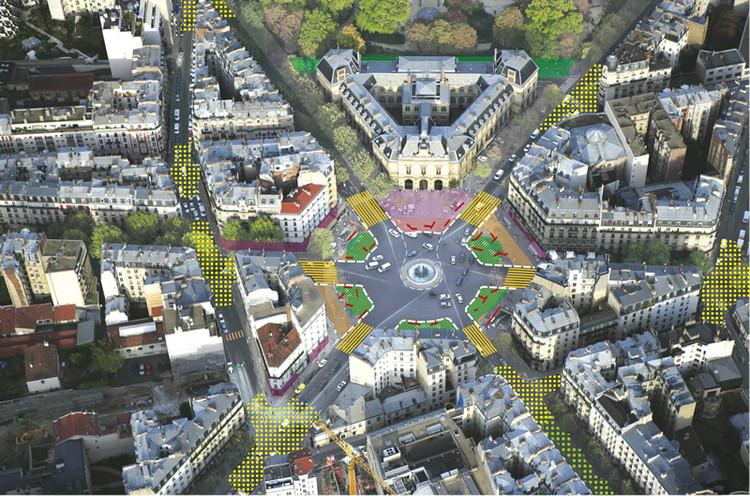 7 lugares de París serán remodelados para que el 50% de su superficie sea para peatones y ciclistas, Plaza Gambetta. Image © Sophie Robichon. Fuente: Ayuntamiento de París