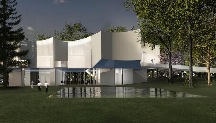Exterior, imagen nocturna. Imagen cortesía de Steven Holl Architects