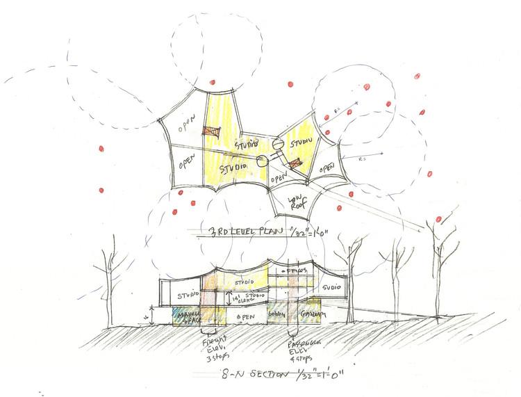 Acuarela del diámetro del árbol, geometría compleja. Imagen cortesía de Steven Holl Architects