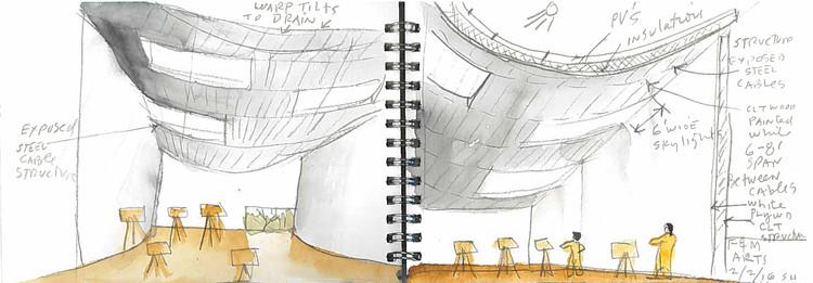 Acuarela, corte interior. Imagen cortesía de Steven Holl Architects