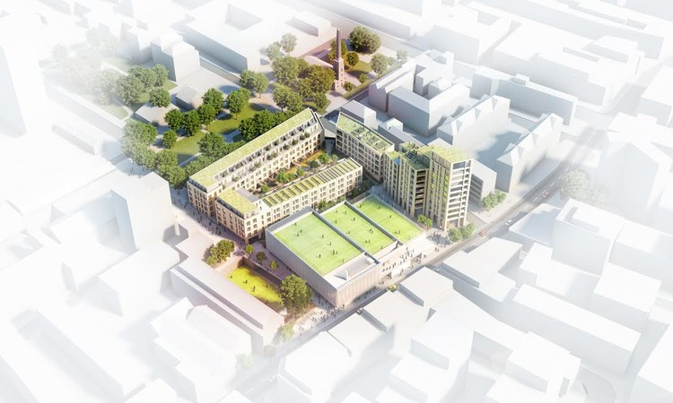 RSHP & Grimshaw Among 5 Shortlisted Firms for Finsbury Leisure Centre, Finsbury Leisure Centre Design Idea 1. Image Courtesy of Islington Council