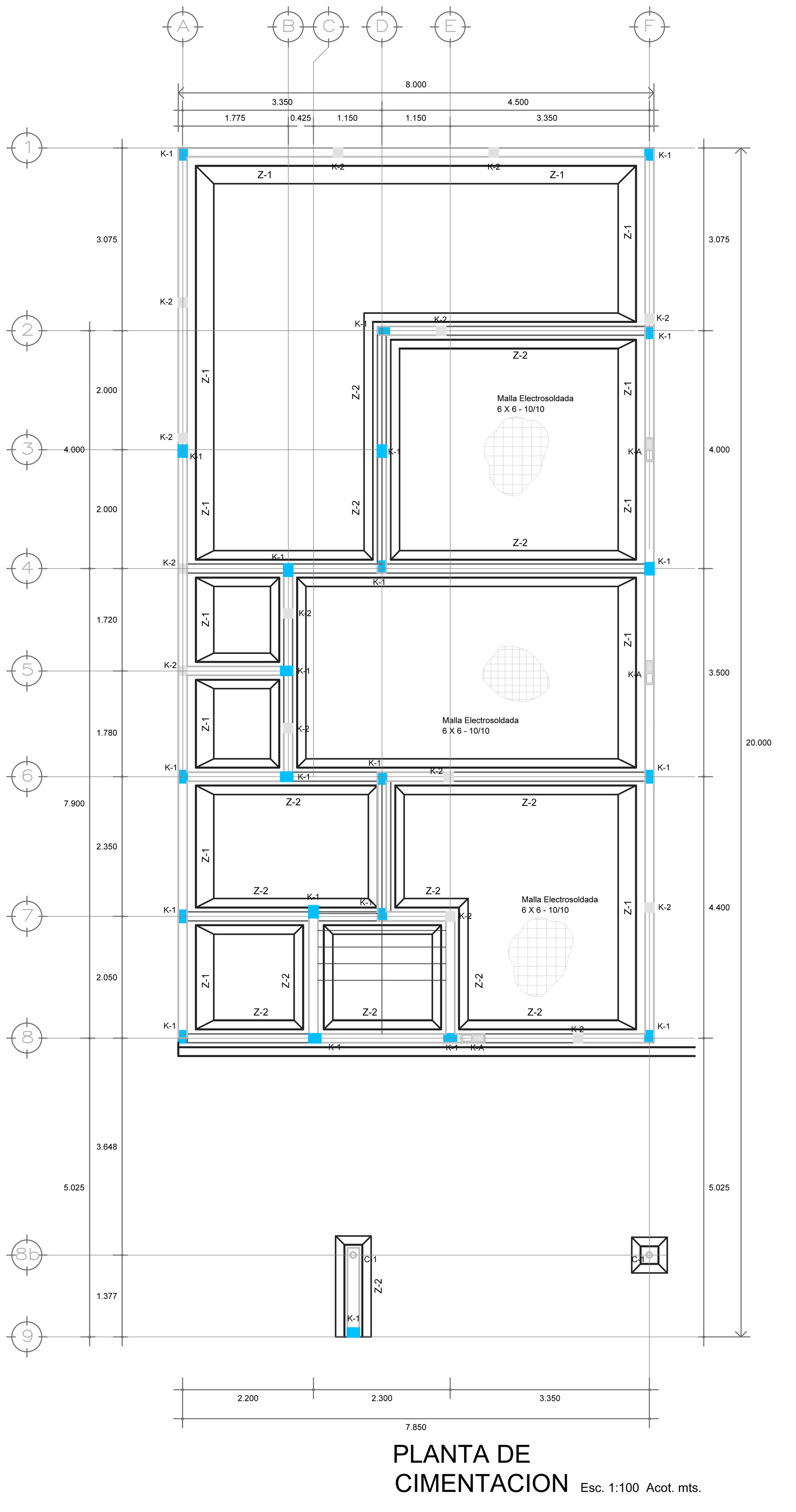 plano estructural planta baja