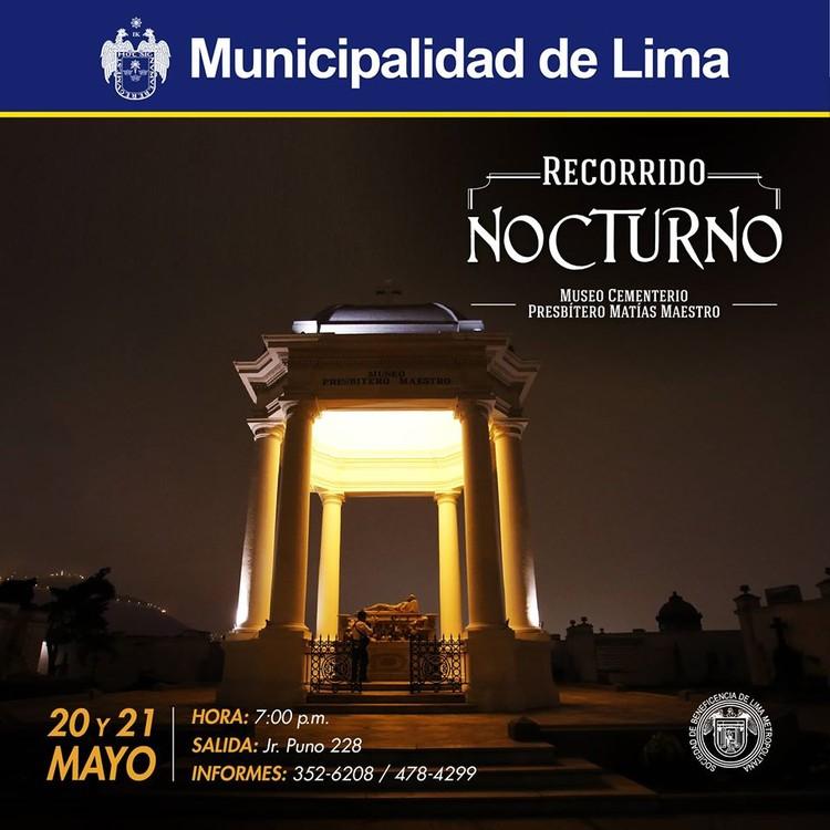 Recorrido Nocturno al Museo Cementerio Presbítero Matías Maestro / Lima, Cortesía de Beneficencia de Lima