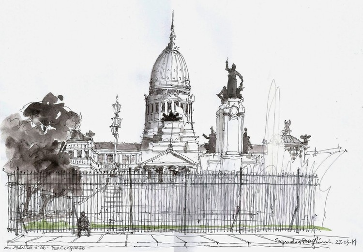 Sandro Borghini - Ciudad autónoma de Bs. As. Image vía Croquiseros urbanos - Bs.AS.