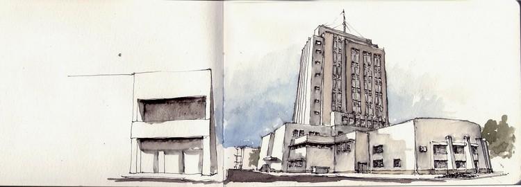 Ariel Milos - Santa fé. Image vía Croquiseros urbanos de Santa fé