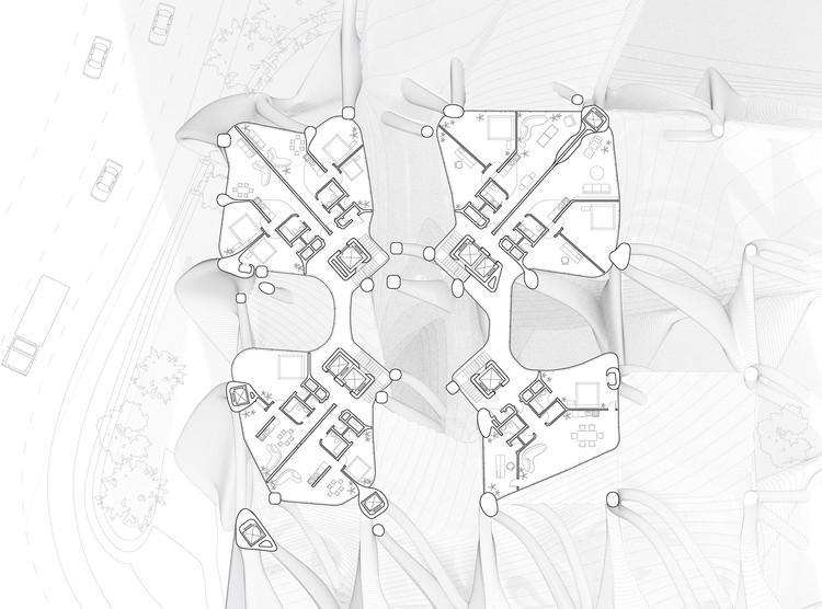 Planta tipo. Cortesía de la Escuela de Arquitectura de Yale