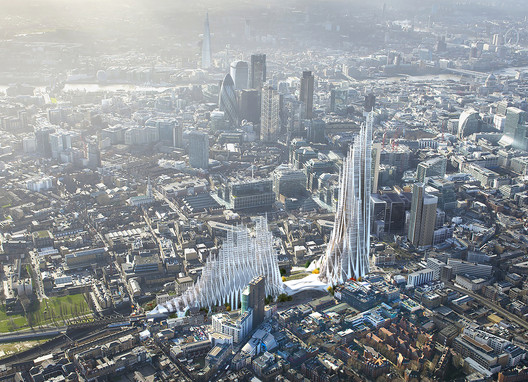 Student Proposal for London's Bishopsgate Goodsyard Builds on the Legacy of Zaha Hadid
