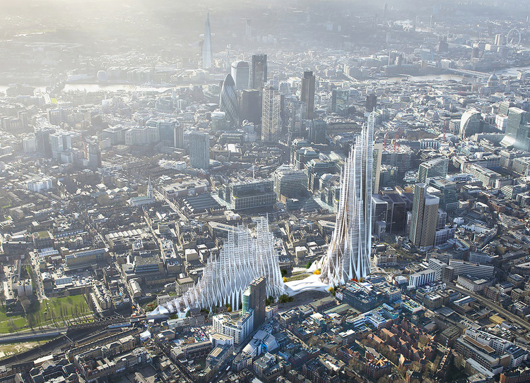 Student Proposal for London's Bishopsgate Goodsyard Builds on the Legacy of Zaha Hadid, Courtesy of Yale School of Architecture
