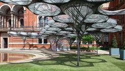 Pabellón de Filamentos de Élitro explora la biomimética en el Victoria and Albert Museum de Londres