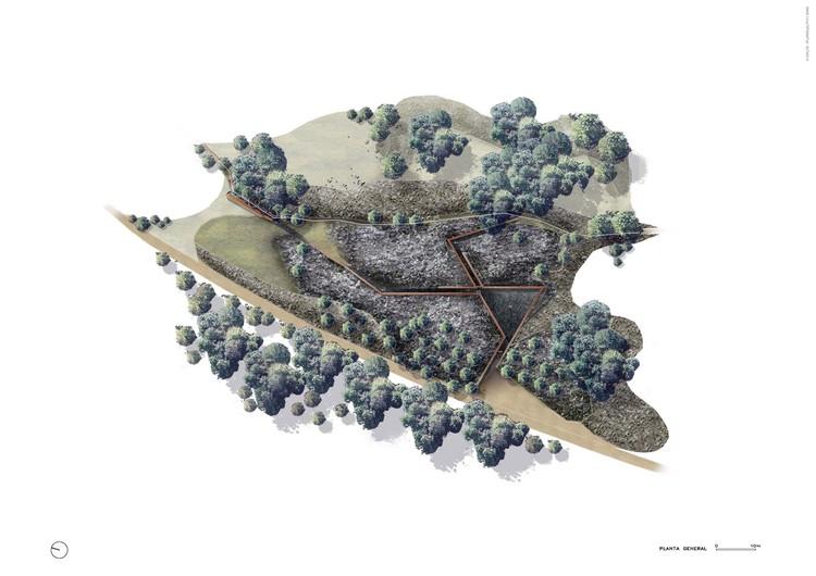 Axonométrica de Parque de Piedra Tosca, diseñado por RCR Arquitectes. Image Cortesía de RCR Arquitectes