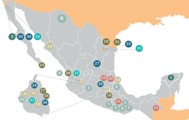 Mapa ilustrativo de la distribución de las propuestas presentadas