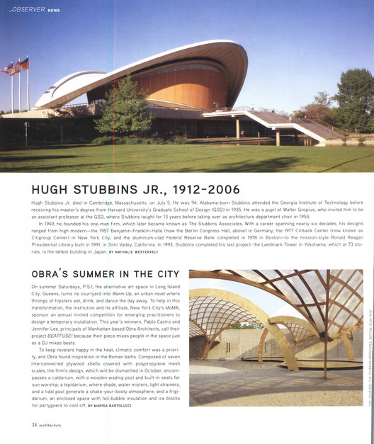 Architecture, August 2006 Page 6. Image via Colossus
