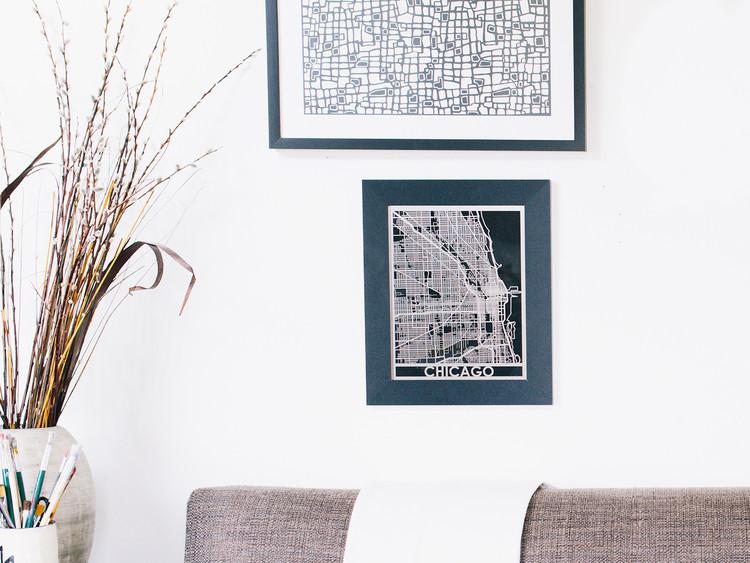 Mapa de ciudad en acero inoxidable, 5 x 7 pulgadas. Imagen cortesía de Cut Maps