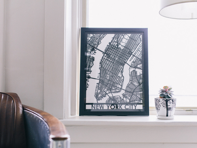 Mapa de ciudad en madera, 18x24 pulgadas. Imagen cortesía de Cut Maps