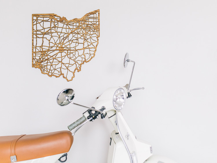 Cut Maps Adds Contemporary Precision to Cartographic Objects , Oak State Art, Ohio. Image Courtesy of Cut Maps