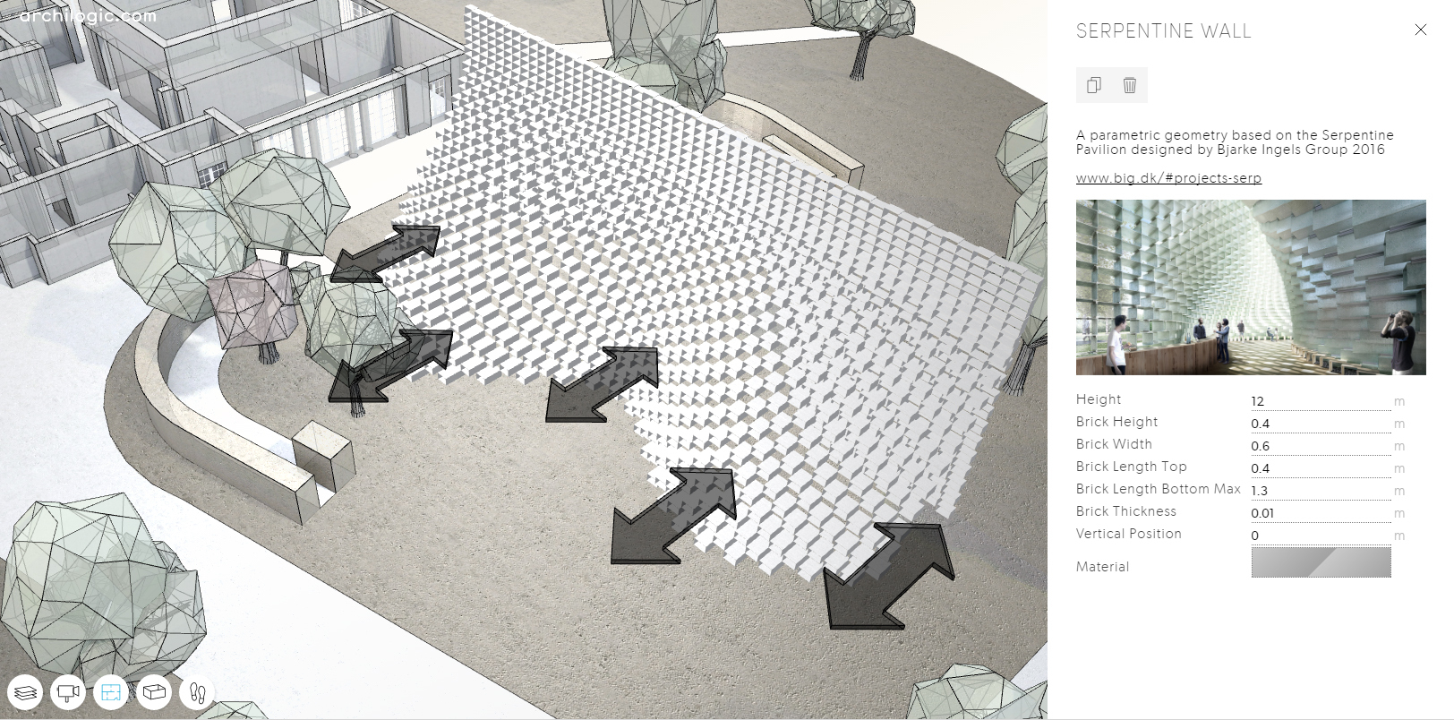 Play with a parametric version of big 39 s serpentine for Architecture parametrique