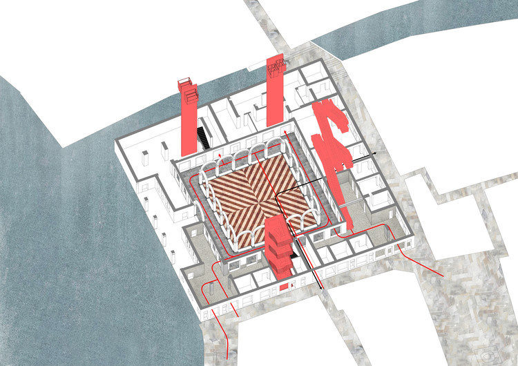 Il Fondaco dei Tedeschi, ground floor circulation diagram. Image Courtesy of OMA