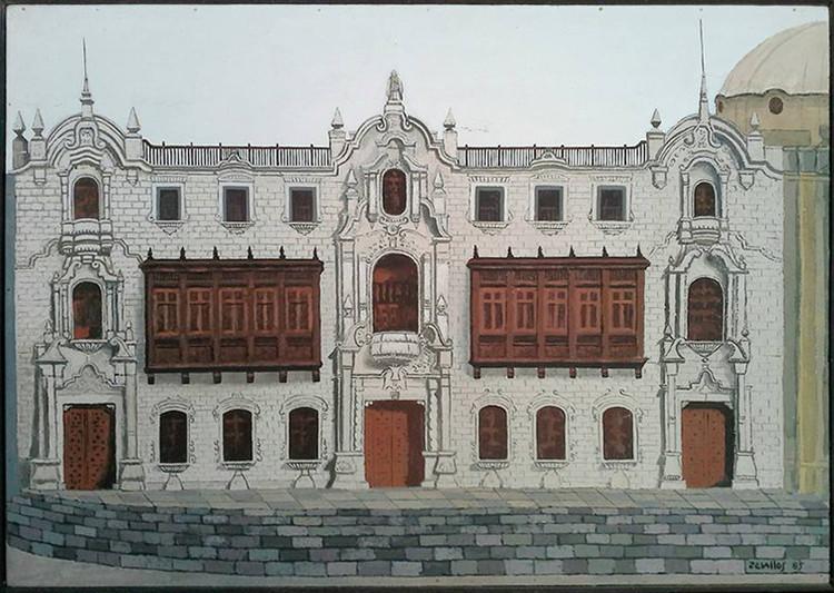 ¡Feliz día del arquitecto peruano!, Óleo del Palacio Arzobispal de Lima pintado por Zevallos en 1985. Image Cortesía de Alberto Mogrovejo Cabada