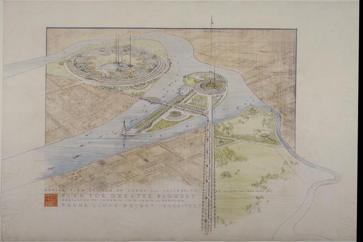 MoMA anuncia retrospectiva en honor a los 150 años del nacimiento de Frank Lloyd Wright, Plan maestro para Bagdad. Proyecto sin construir. 1957-58. 34 7/8 × 52″ (88.6 × 132.1 cm). Imagen © The Frank Lloyd Wright Foundation Archives (MoMA | Avery Architectural & Fine Arts Library, Columbia University, Nueva York)