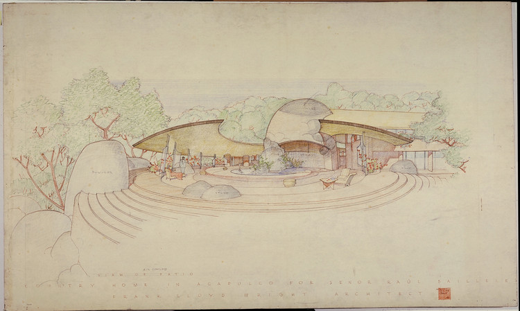 Casa Raúl Bailleres (Acapulco, México). Proyecto sin construir. 1952. Tinta y lápices sobre papel calco. 31 3/4 x 52 7/8″ (80.6 x 134.3 cm). Imagen © The Frank Lloyd Wright Foundation Archives (MoMA | Avery Architectural & Fine Arts Library, Columbia University, Nueva York)
