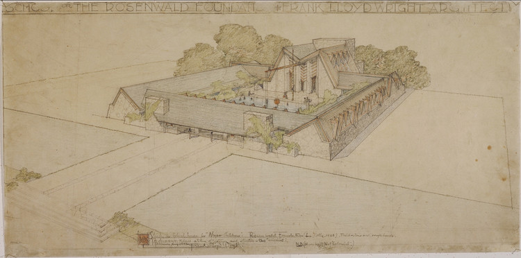 "Colegio Fundación Rosenwald (La Jolla, California). Proyecto sin construir. 1928. Lápiz y lápices de color sobre papel de calco. 12 3/4 x 25 7/8"" (32.4 x 65.7 cm). Imagen © The Frank Lloyd Wright Foundation Archives (MoMA 
