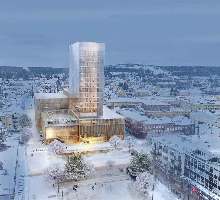 White Arkitekter diseña el edificio más alto en madera de Suecia para el Centro Cultural de Skellefteå, © White Arkitekter