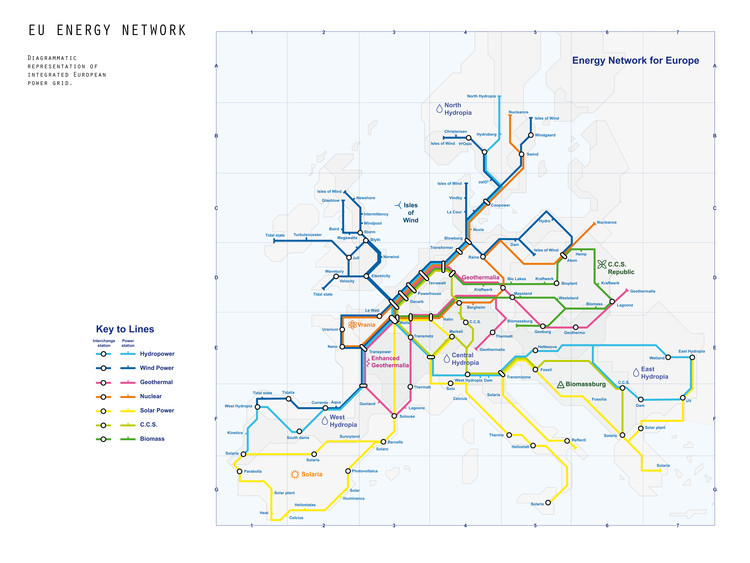 Roadmap 2050 – EU Energy Network. Image Courtesy of Volume