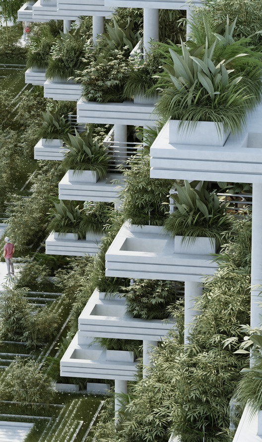 Penda Designs Sky Villas With Vertical Gardens For Hyderabad Archdaily