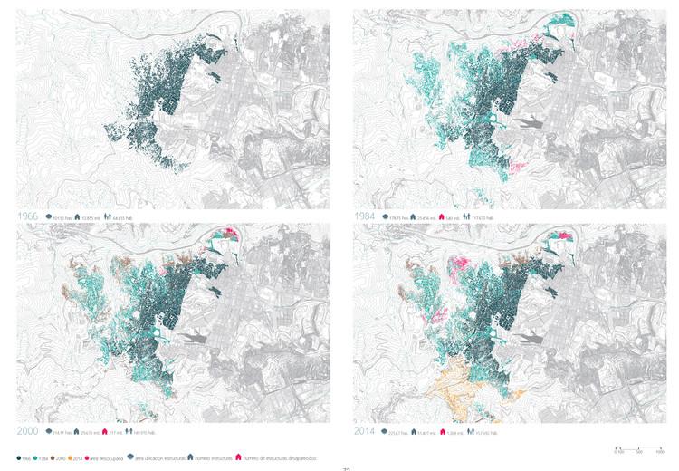 Mapa de la UPF 5 Catia Oeste, muestra la extensión del barrio en 1966,1984, 2000 y 2014. CABA Cartografía de los barrios de Caracas 1966-2014. Image © Enlace Arquitectura